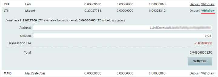 poloniex balances withdraw ltc